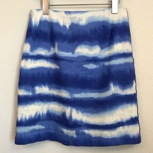 Worth New York 100% Linen Pencil Skirt Sz S Blue